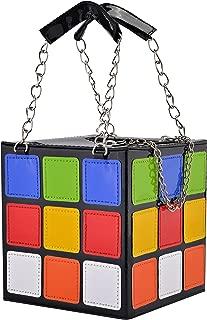 New Style Colorful Magic Cube Tote Bag Fashion Handbag PU Leather 15*15*15 cm