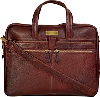 "Bag Jack® - The most popular""Sagittarii : Hanson"" London brown color handcrafted leather laptop bag."