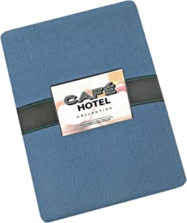 Lintex Cafe Hotel Linen Look Solid Color Heavy 4 Gauge Vinyl Flannel Backed Tablecloth, Indoor/Outdoor Wipe Clean Tablecloth, 70 Inch Round, Chambray Blue