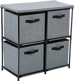 MULSH Storage Shelf Drawer Chest Organizer Units Storage Cabinet 4-Drawer Organizer with 4 Removable Non-Woven Fabric Bins in Grey,25