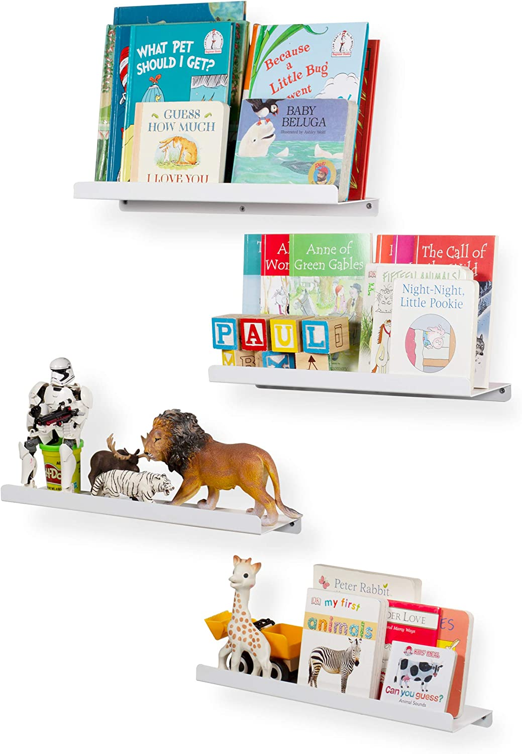 Wall Mount Kids' Room 17 Inch Floating Shelves Bookcase Display Ledges Set of 4 White