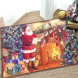 Noahas Christmas Rugs Santa Claus Bedroom Rug Door Mat Anti-Slip Entryway Carpet Xmas Floor Rugs for Kitchen, 2 ft x 3 ft, Santa Claus