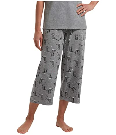 HUE Sweet Kitty Capris PJ Pants (Medium Heather Grey) Women