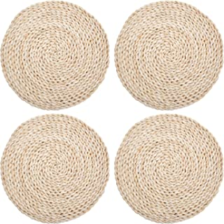 wellhouse Corn Straw Woven Placemats Round Rattan Placemats Braided Dining Table Mats Natural Handmade Table Placemat Insulation Pad (4, Round 11.8