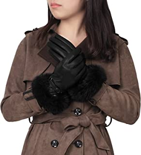 Best womens rabbit fur lined leather gloves Reviews