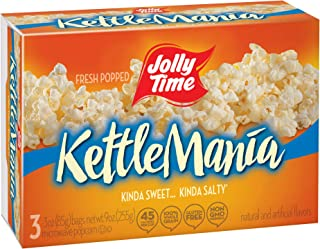 JOLLY TIME KettleMania Microwave Popcorn Sweet & Salty Gourmet Kettle Corn, 3Count (Pack of 12)