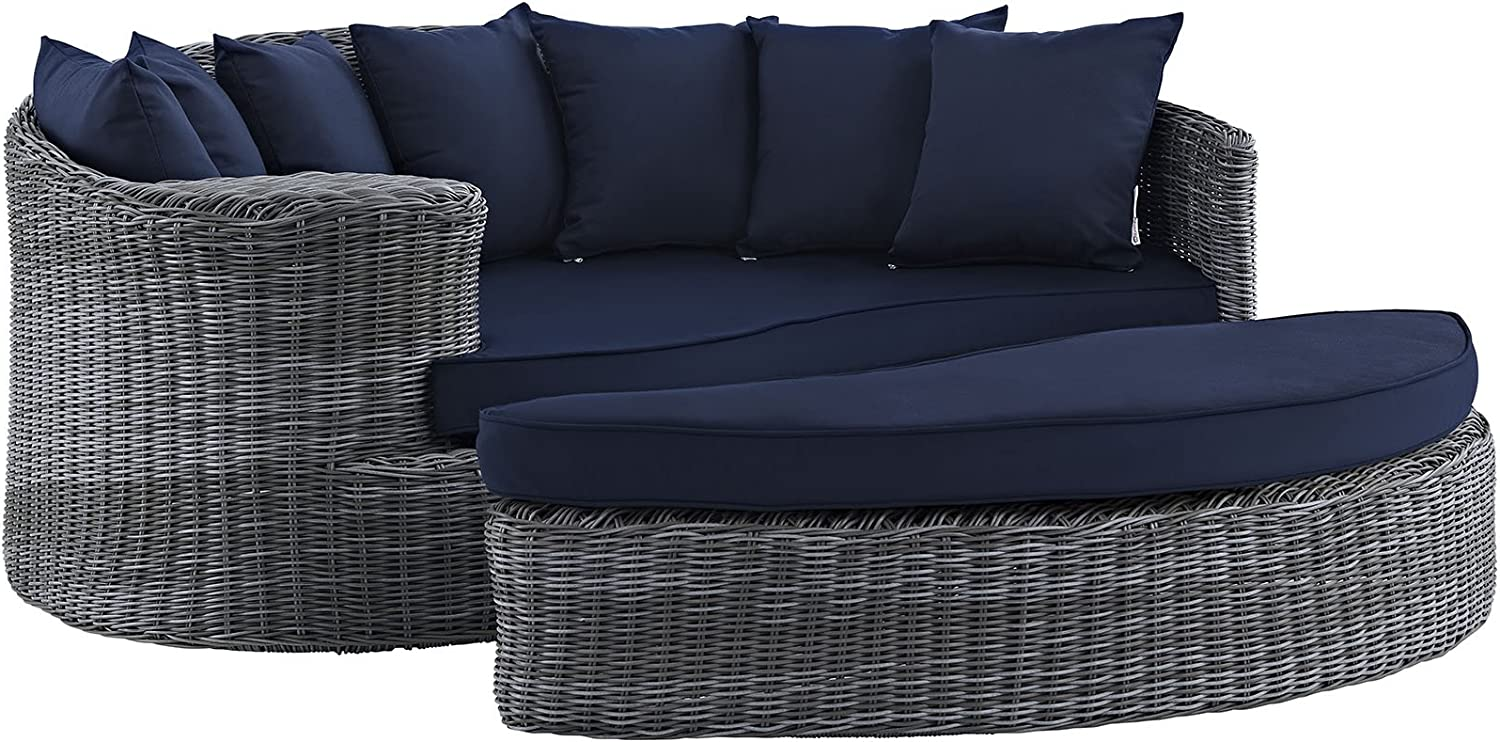 Modway Today's only Free shipping on posting reviews Summon Wicker Rattan Aluminum Patio Poolside Outdoor Sect