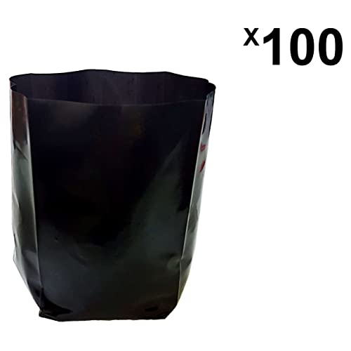 Unique Plastic Industries Plastic Poly Grow Bag (Black, 100-Pieces, GB5x6FLAT100)