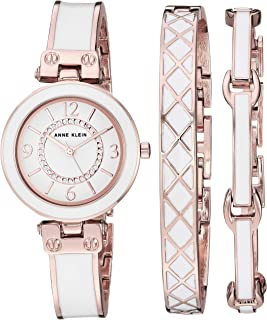 Anne Klein Women's Swarovski Crystal Accented Bangle Watch and Bracelet Set