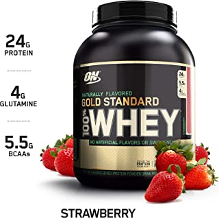 OPTIMUM NUTRITION GOLD STANDARD 100% Whey Protein Powder, Naturally Flavored Strawberry, 4.8 Pound