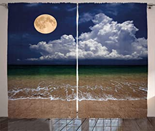 Ambesonne Nature Curtains, Night Sky Big Full Moon and Fluffy Clouds Over The Ocean Waves Sandy Beach Seashore, Living Room Bedroom Window Drapes 2 Panel Set, 108W X 84L Inches, Multicolor