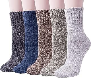 5 Pack Womens Warm Wool Socks Thick Knit Winter Cabin...