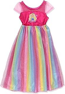 Barbie Girl's Rainbow Dress Up Fantasy Gown Nightgown Pajamas