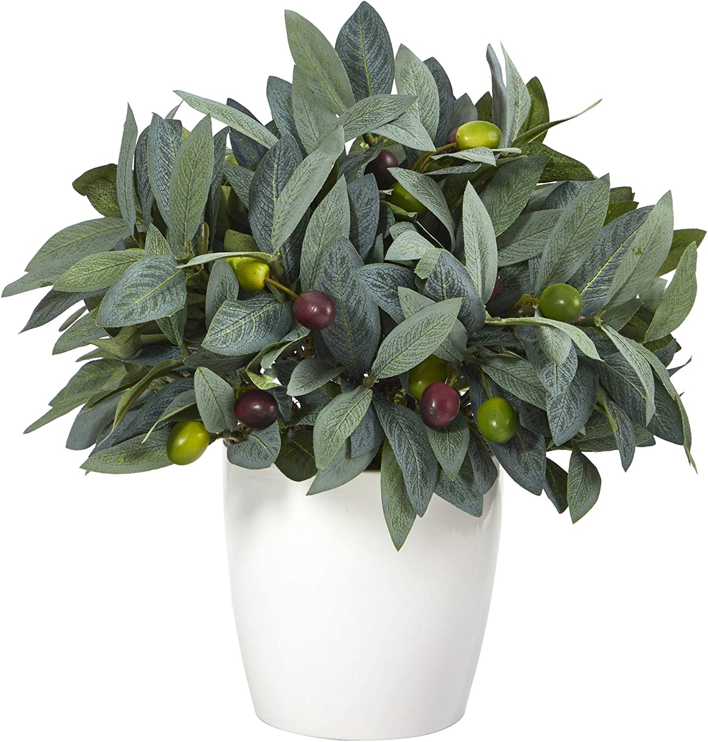 10in. Olive Artificial Plant with Berries Ranking TOP20 Planter Many popular brands in White