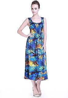 Women's Hawaiian Maxi Tank Elastic Luau Dress in Sunset Patterns