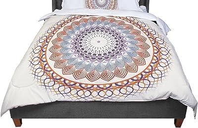 KESS InHouse Famenxt Nature Mandala Yellow Multicolor Twin Comforter 68 X 88