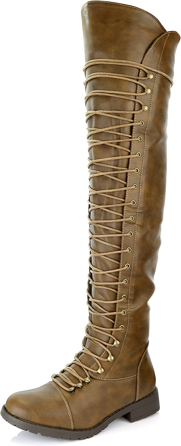 DailyShoes Women's Lace Up Thigh High Boots - Vegan Easy Lace Up Design with Zipper Trendy Military Style Boot