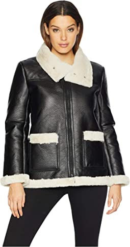 Long Sleeve Pleather Shearling Trimmed Jacket