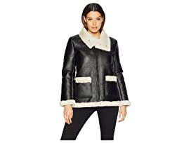f753f2625b3214 Vince Camuto Long Sleeve Pleather Shearling Trimmed Jacket
