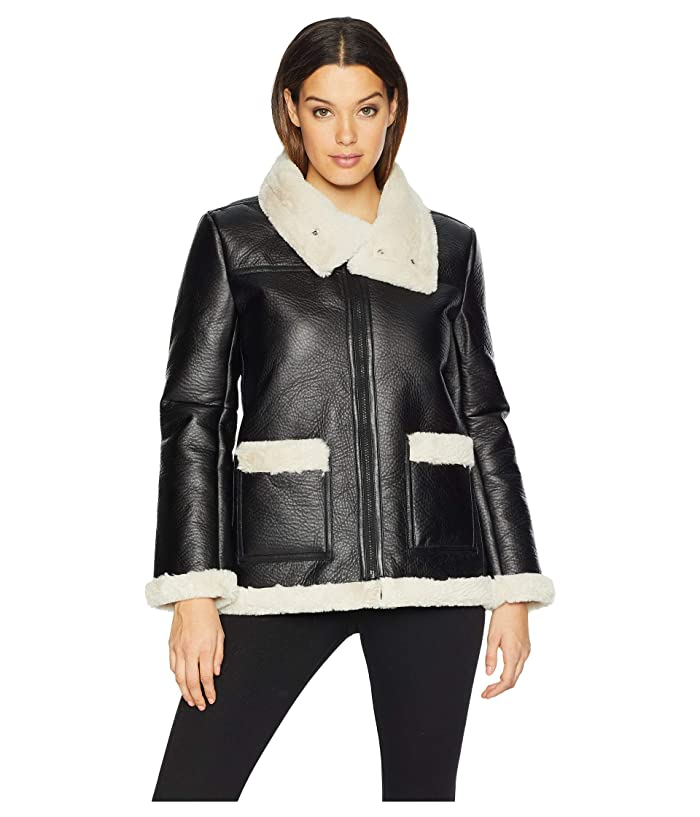 0707bd66046f8a Vince Camuto Long Sleeve Pleather Shearling Trimmed Jacket at 6pm
