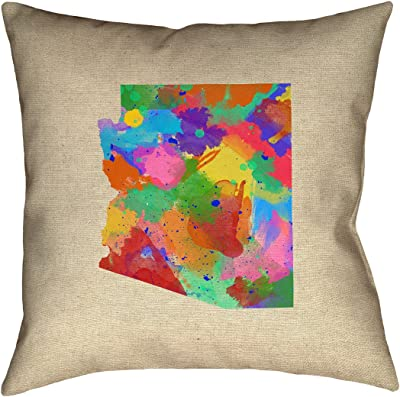 ArtVerse Katelyn Smith 16 x 16 Spun Polyester Kansas Watercolor Pillow