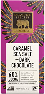 Endangered Species Chocolate Bars | Caramel Sea Salt Dark Chocolate Bar | 60% Cocoa made with organic caramel and pink Him...