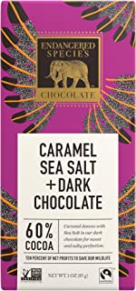Endangered Species Eagle, Fair Trade Dark Chocolate with Caramel and Sea Salt Bar, 60% Cocoa - 3 Ounce Bars (12 Pack)