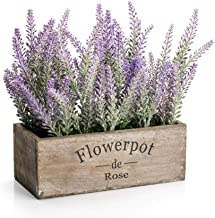 """Velener Artificial Flower Potted Lavender Plant for Home Decor (Wooden Tray, 9"""" Long)"""