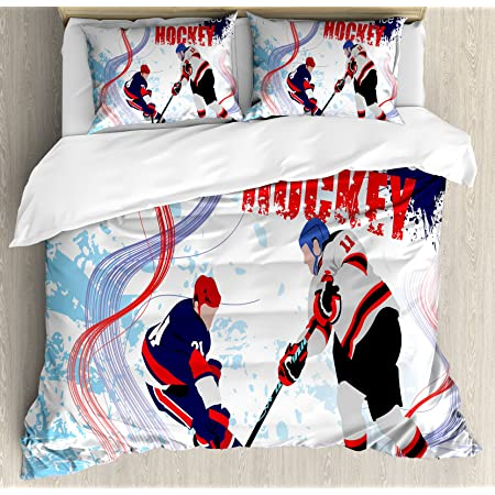 Ambesonne Hockey Duvet Cover Set 2 Ice Hockey Players In Cartoon Style On Grunge Abstract Skating Rink Backdrop Decorative 3 Piece Bedding Set With 2 Pillow Shams Queen Size Blue Red