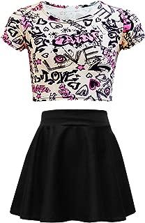 Áo quần dành cho bé gái – Kids Girls New Love Comic Graffiti Print Legging Skater MIDI Dress Crop TOP 2-13