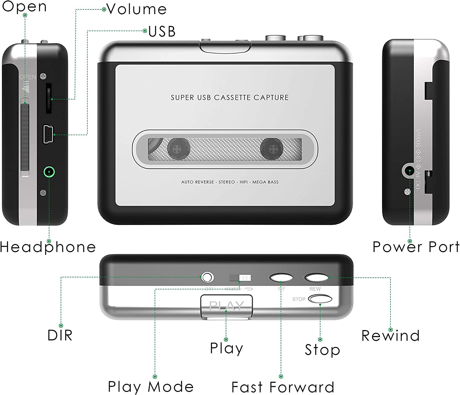 Updated Cassette to MP3 Converter USB Cassette Player from Tapes to MP3 Digital Files for Laptop PC and Mac with Headphones from Tapes to Mp3 New