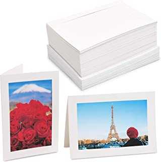 Photo Insert Note Cards - 48-Pack Paper Picture Frames Cards and Envelopes, Elegant White Paper Photo Mats, Perfect for In...