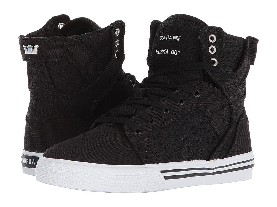 Supra Kids Skytop (Little Kid/Big Kid) (Black/Black/White) Boys Shoes