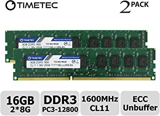 Timetec 16GB KIT(2x8GB) DDR3L 1600MHz PC3-12800 Unbuffered ECC 1.35V 240 Pin UDIMM Server Memory Ram Module Upgrade (16GB KIT(2x8GB))