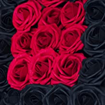 Carreking Artificial Flowers Roses 25pcs Dark Red+Black Fake Roses DIY Wedding Bouquets Shower Party Home Decorations Arrangements Party Home Decorations (25pcs Dark Red+Black)