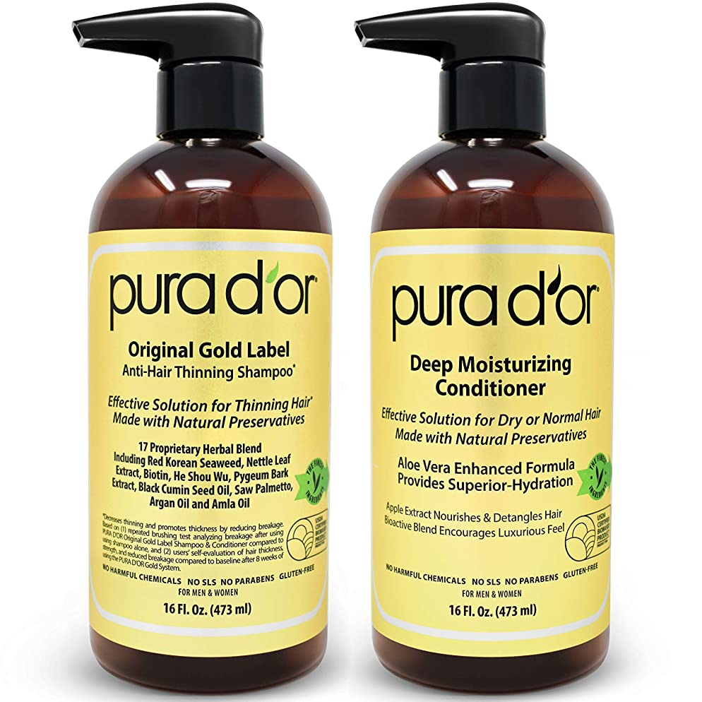 PURA D'OR Original Gold Label Shampoo & Conditioner for Anti-Thinning - Clinically Tested - Argan Oil, Biotin & Natural Ingredients, Sulfate Free, All Hair Types, Men & Women (Packaging may vary)