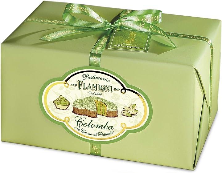 Colomba pasquale flamigni ricoperta cioccolato bianco granella di pistacchio,senza canditi,made in italy 950gr