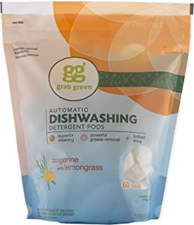 Grab Green Natural Dishwasher Detergent Pods, Tangerine + Lemongrass-With Essential Oils, 60 Count, Organic Enzyme-Powered, Plant & Mineral-Based