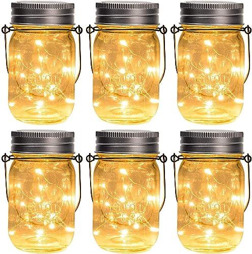 GIGALUMI Hanging Solar Mason Jar Lights, 6 Pack 30 Led String Fairy lights Solar Lanterns Table Lights, 6 Hangers and...