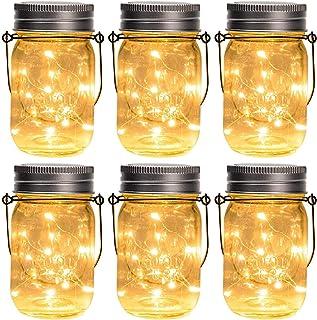 GIGALUMI Hanging Solar Mason Jar Lights, 6 Pack 30 Led String Fairy lights Solar Lanterns Table Lights, 6 Hangers and Jars...