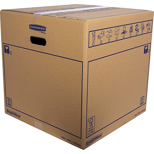 BANKERS BOX SmoothMove Heavy Duty Double Wall Cardboard Moving and Storage Boxes with Handles, 88.5 Litre, 44.5 x 44.5 x 44.5 cm, 10 Pack