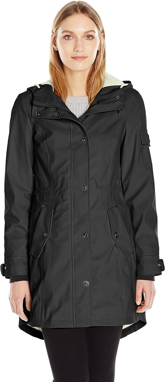 1 Madison Womens Matte Pu Rain Hooded Anorak Jacket Raincoat