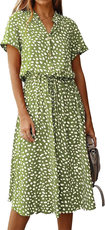 HOP FASHION Women's Floral Maxi Dresses V-Neck Split Button Up Elastic Waist Belt Beach Party Long Dress