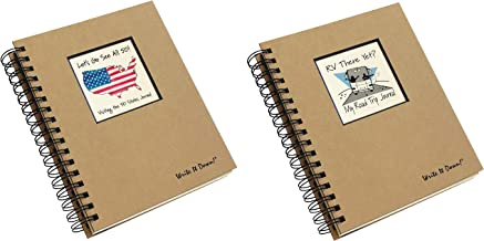 product image for 50 States Road Trip and RV Travel Journal Set | Planner Diary for Vacation, Travels and Camping Adventures | Includes 2 Spiral Bound Log Books with Prompts, 200 Pages Each