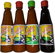 Huichol Set of 4: Gourmet Salsa Hot Sauce, with Lime + Habanera Roja & Salsa Negra, 6.5 oz bottles
