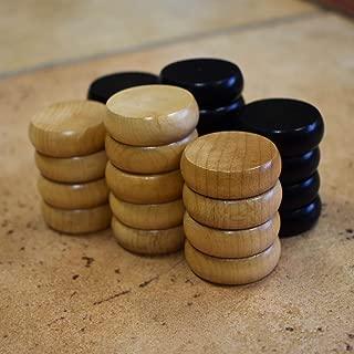 26 Traditional Size Crokinole Discs (Natural & Black)