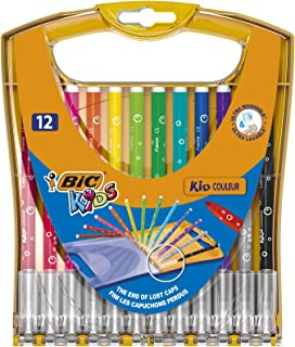 BIC 933964 Kids Ultra Washable Markers Medium Point - Assorted Colours, Durable Portable Case of 12 Felt Tip Pens with Bui...