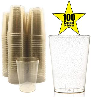 100 Count Hard Plastic 14- Ounce Party Cups 14 oz Old Fashioned Tumblers Ideal for Home, Office, Bars, Wedding, Bridal and Baby Shower, Birthday, Retirement, Anniversary, Parties (Gold Glitter)