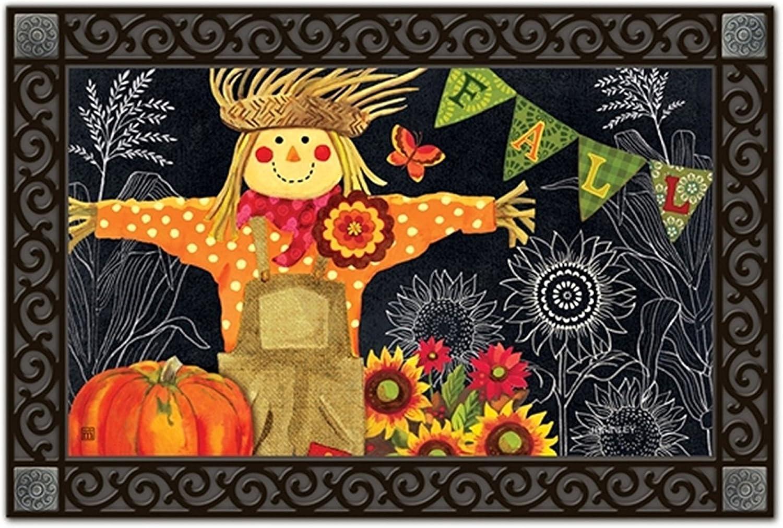 Burlap Scarecrow Autumn Doormat Pumpkins Sunflowers Indoor Outdoor 18  x 30