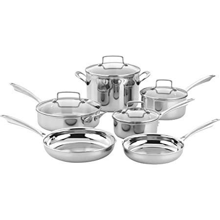 Cuisinart TPS-10 10 Piece Classic Tri-ply Stainless Steel Cookware Set, PC, Silver